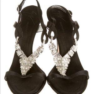 Giuseppe Zanotti black satin sandals w crystals